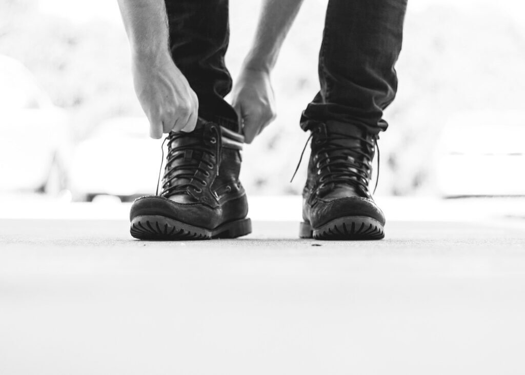 Men wearing Police Boots