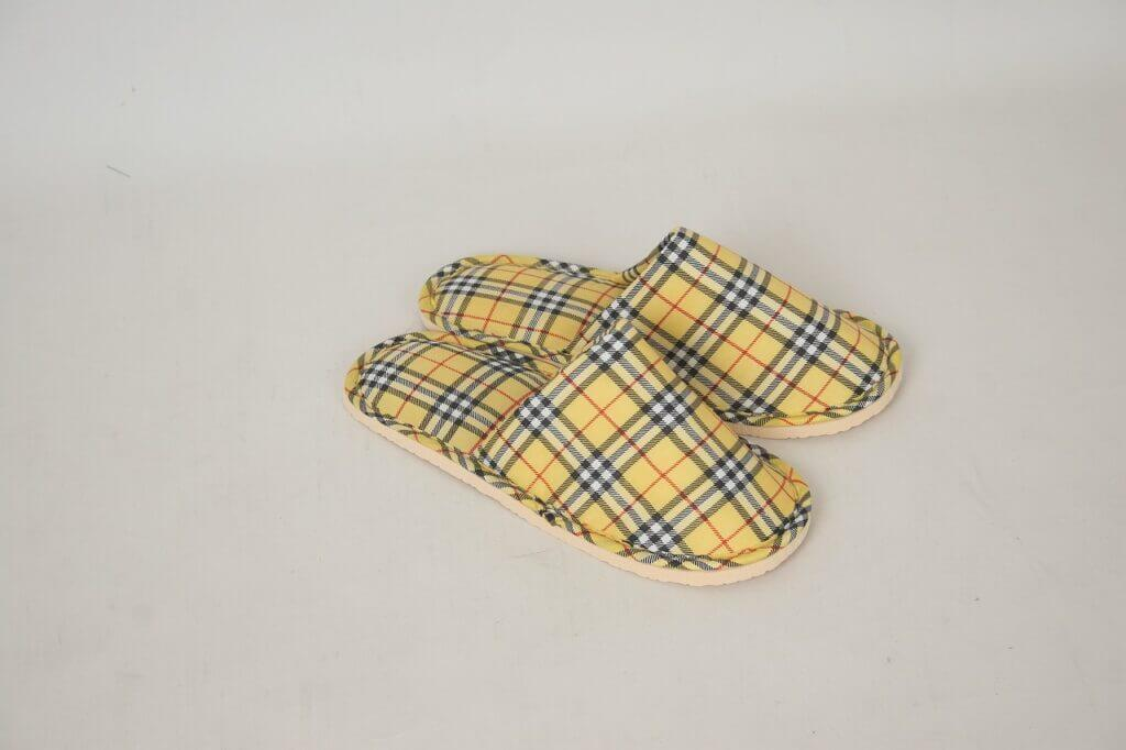 Yellow Check Slippers