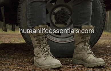 military boots in front of wheel