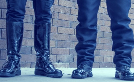 two pairs boots of police patrol