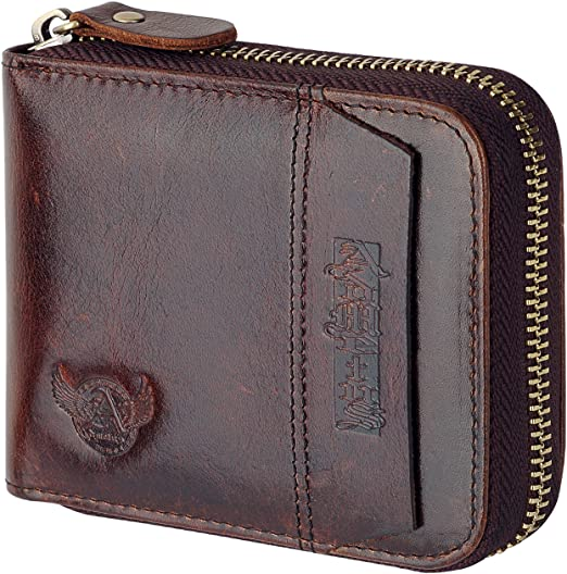Admetus Men Genuine Leather Short Zip-around Bifold Wallet