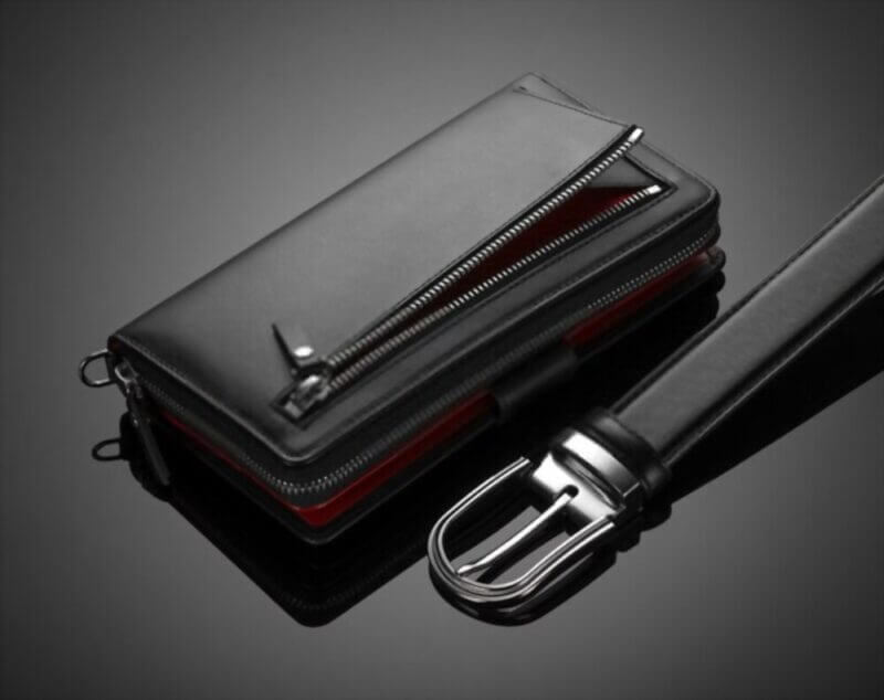 Best Men Zip Wallets with a belt in black backgound
