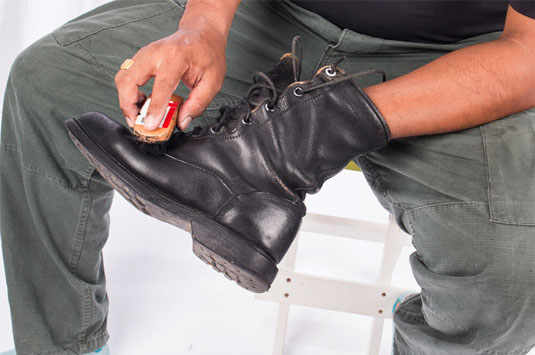 Black Combat Boot with Cleaning Brush