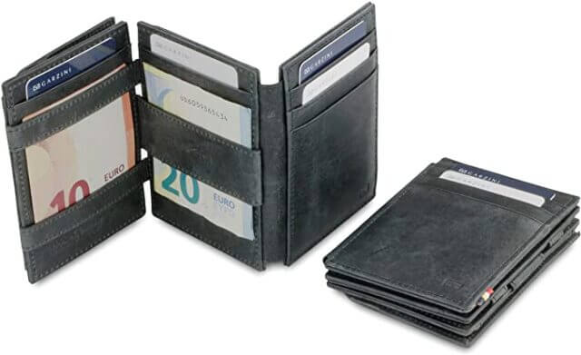 Garzini Spacious Smart Genuine Leather Magic Wallet RFID Blocking With ID Window and Coin Wallet for Men
