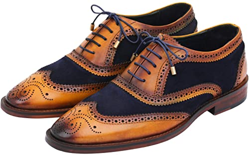 Lethato Wingtip Brogue Oxford Handcrafted Men Genuine Leather Lace up Dress Shoes