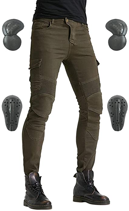 Men Motorcycle Riding Pants Denim Jeans Protect Pads Equipment with Knee and Hip Armor Pads VES6