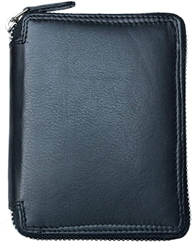 Metal Zip Around (Ziper-around) Black Genuine Leather Wallet Kabana