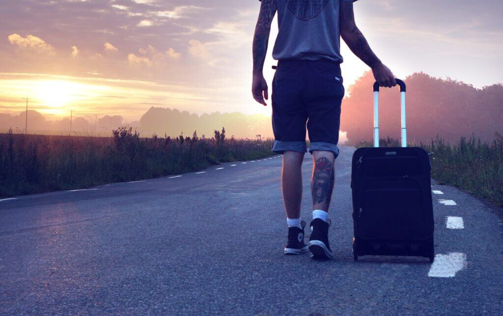 Suitcases For Teens walking in nighttime