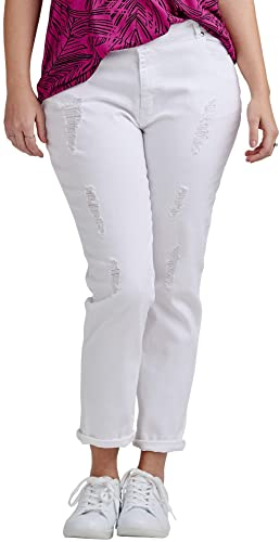ellos Women Plus Size Boyfriend best white jeans for curvy
