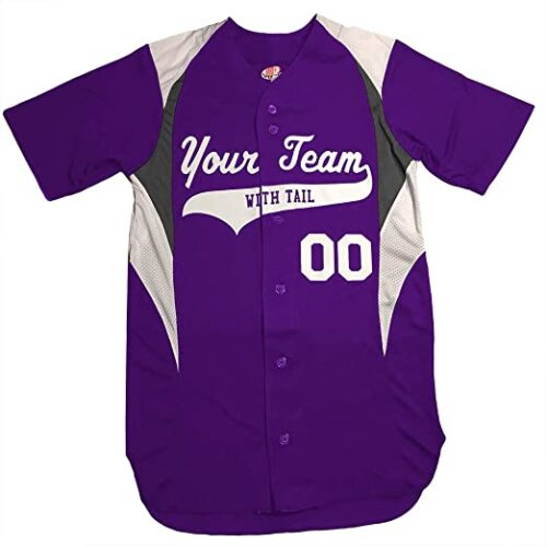 Button Down Custom Baseball Jersey with Your Names and Numbers