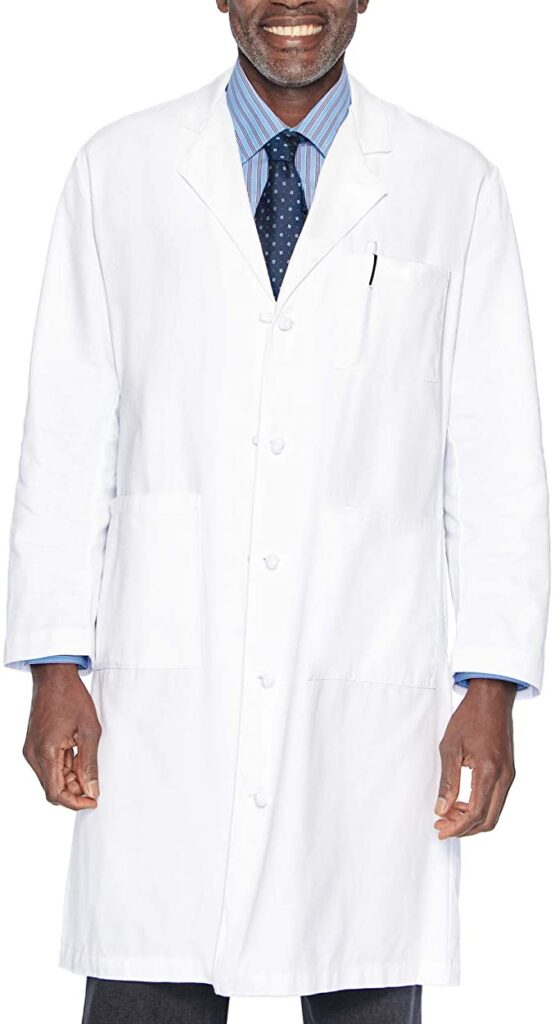 Classic Relaxed Fit 5-Button Full-Length Cotton Twill Lab Coats For Male Doctors