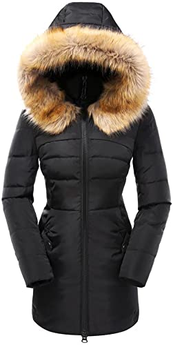 Valuker Women Down Coat With Fur Hood With 90% Down Parka Puffer Coat
