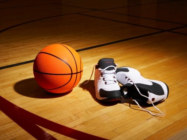 basketball shoes in court